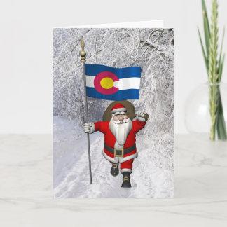 Santa Claus With Ensign Of Colorado Holiday Card