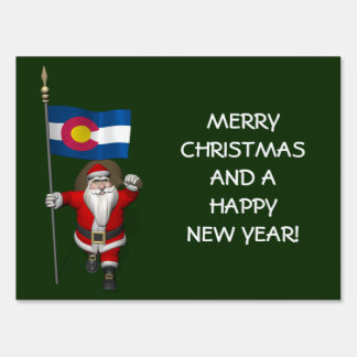 Santa Claus With Ensign Of Colorado Lawn Sign