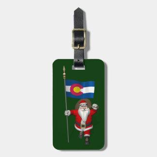 Santa Claus With Ensign Of Colorado Luggage Tag