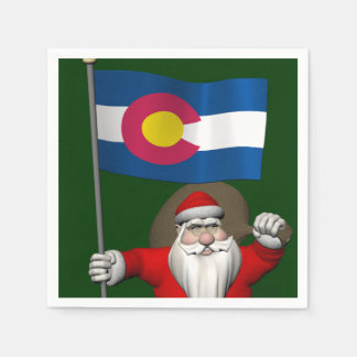 Santa Claus With Ensign Of Colorado Napkin