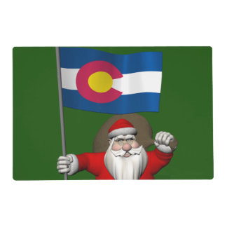 Santa Claus With Ensign Of Colorado Placemat