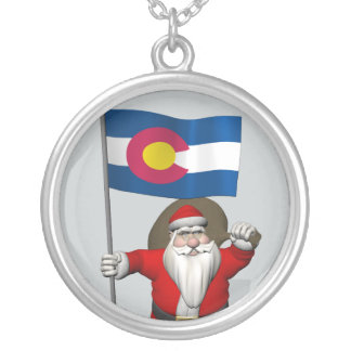 Santa Claus With Ensign Of Colorado Silver Plated Necklace