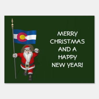 Santa Claus With Ensign Of Colorado Lawn Signs
