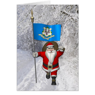 Santa Claus With Ensign Of Connecticut Greeting Card