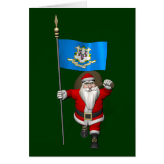 Santa Claus With Ensign Of Connecticut Greeting Cards