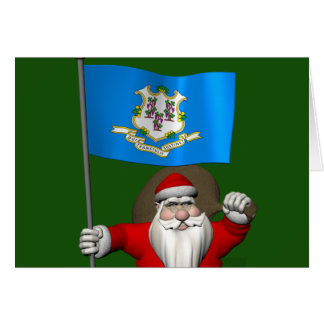 Santa Claus With Ensign Of Connecticut Cards