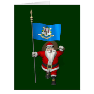 Santa Claus With Ensign Of Connecticut Card