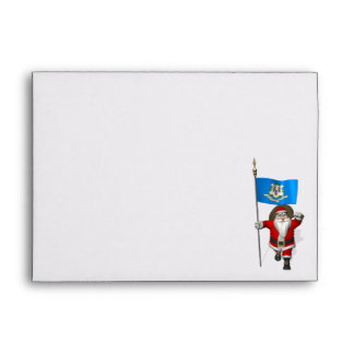 Santa Claus With Ensign Of Connecticut Envelopes