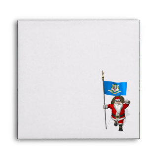 Santa Claus With Ensign Of Connecticut Envelope