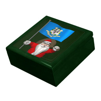 Santa Claus With Ensign Of Connecticut Keepsake Boxes