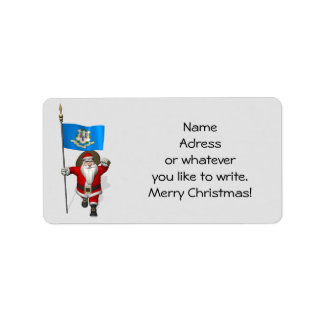 Santa Claus With Ensign Of Connecticut Address Label
