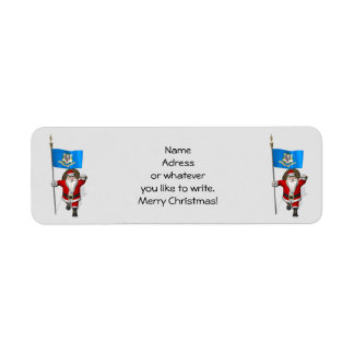 Santa Claus With Ensign Of Connecticut Labels