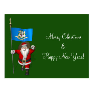 Santa Claus With Ensign Of Connecticut Post Card