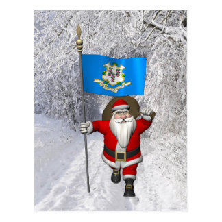 Santa Claus With Ensign Of Connecticut Post Cards