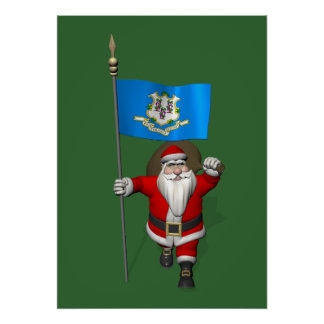 Santa Claus With Ensign Of Connecticut Poster