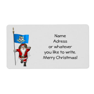 Santa Claus With Ensign Of Connecticut Shipping Label
