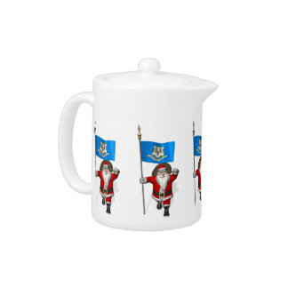 Santa Claus With Ensign Of Connecticut Teapot
