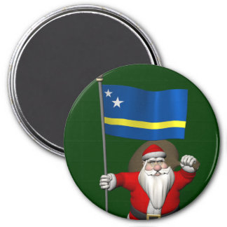 Santa Claus With Ensign Of Curaçao 3 Inch Round Magnet