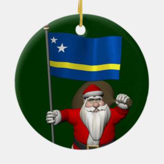 Santa Claus With Ensign Of Curaçao Ceramic Ornament