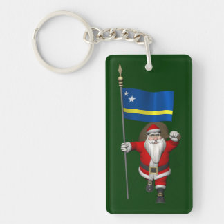 Santa Claus With Ensign Of Curaçao Keychain