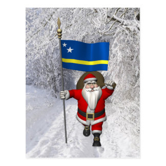 Santa Claus With Ensign Of Curaçao Postcard
