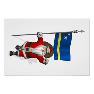 Santa Claus With Ensign Of Curaçao Poster