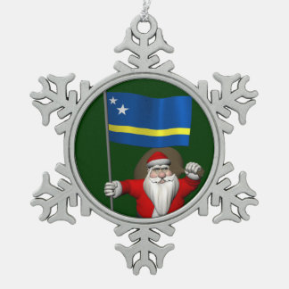 Santa Claus With Ensign Of Curaçao Snowflake Pewter Christmas Ornament