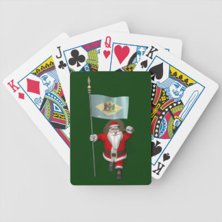 Santa Claus With Ensign Of Delaware Bicycle Playing Cards
