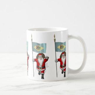 Santa Claus With Ensign Of Delaware Coffee Mug