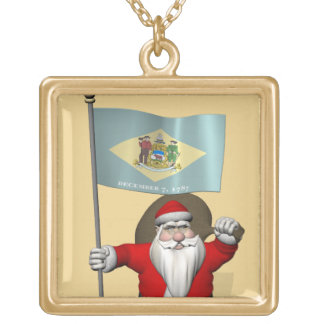Santa Claus With Ensign Of Delaware Gold Plated Necklace