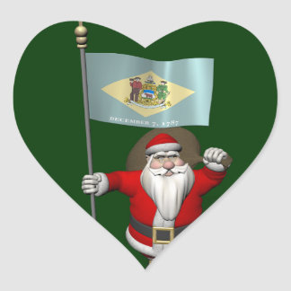 Santa Claus With Ensign Of Delaware Heart Sticker