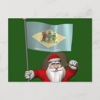 Santa Claus With Ensign Of Delaware Holiday Postcard