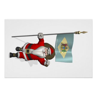 Santa Claus With Ensign Of Delaware Poster