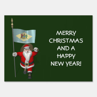Santa Claus With Ensign Of Delaware Sign