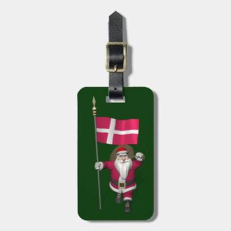 Santa Claus With Ensign Of Denmark Dannebrog Bag Tag