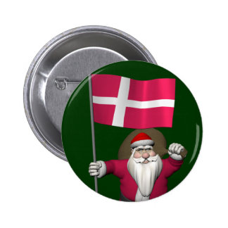 Santa Claus With Ensign Of Denmark Dannebrog Button