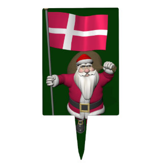 Santa Claus With Ensign Of Denmark Dannebrog Cake Picks