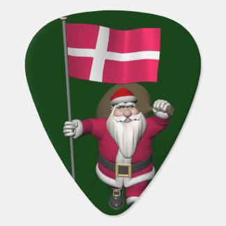 Santa Claus With Ensign Of Denmark Dannebrog Guitar Pick