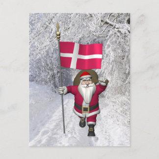 Santa Claus With Ensign Of Denmark Dannebrog Holiday Postcard