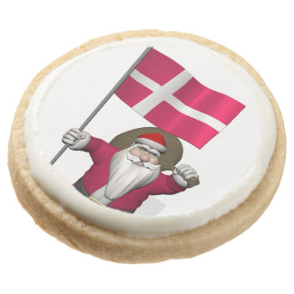 Santa Claus With Ensign Of Denmark Dannebrog Round Premium Shortbread Cookie