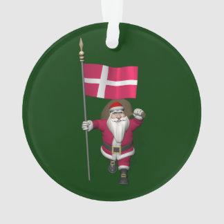 Santa Claus With Ensign Of Denmark Dannebrog Ornament