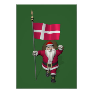 Santa Claus With Ensign Of Denmark Dannebrog Poster