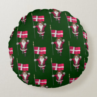 Santa Claus With Ensign Of Denmark Dannebrog Round Pillow