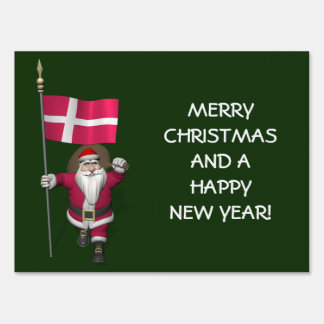 Santa Claus With Ensign Of Denmark Dannebrog Sign