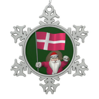 Santa Claus With Ensign Of Denmark Dannebrog Snowflake Pewter Christmas Ornament