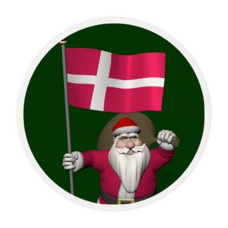 Santa Claus With Ensign Of Denmark Dannebrog Edible Frosting Rounds