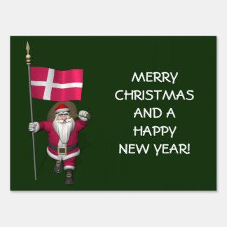 Santa Claus With Ensign Of Denmark Dannebrog Yard Sign