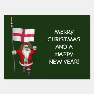 Santa Claus With Ensign Of England Lawn Sign