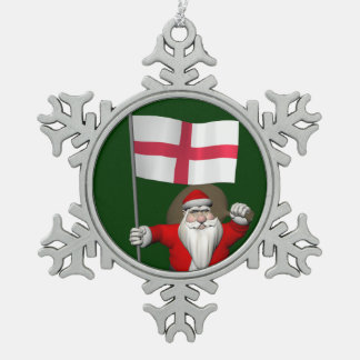 Santa Claus With Ensign Of England Snowflake Pewter Christmas Ornament