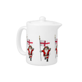 Santa Claus With Ensign Of England Teapot